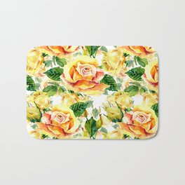Orange yellow watercolor hand painted roses floral pattern Bath Mat