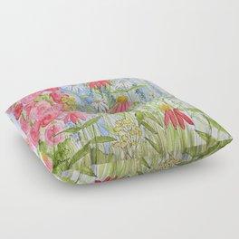 Watercolor Garden Flowers Summer Botanical Illustration  Floor Pillow