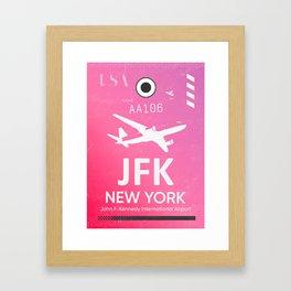 Pink JFK NEW YORK Airport code Framed Art Print