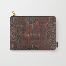 Boho Chic Dark VI // 17th Century Colorful Medallion Red Blue Green Brown Ornate Accent Rug Pattern Carry-All Pouch