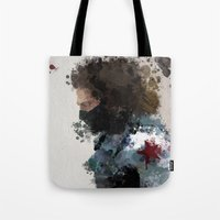 water colour Tote Bags featuring Winter Soldier Water Colour by Scofield Designs