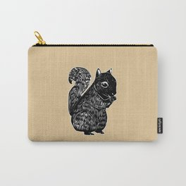 Black Squirrel Printmaking Art Carry-All Pouch