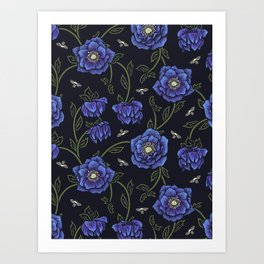 Midnight Hellebore Art Print