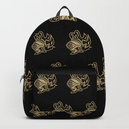 Knights Helmet in Black and Gold Backpack