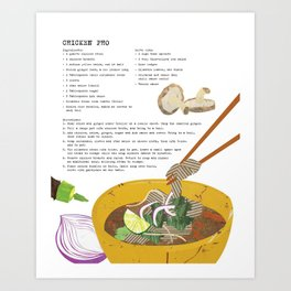 Pho Ga Recipe & Cookbook Art Art Print