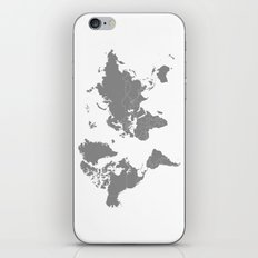 Minimalist World Map Gray on White Background iPhone & iPod Skin