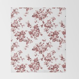 Shabby vintage coral burgundy brown roses floral Throw Blanket