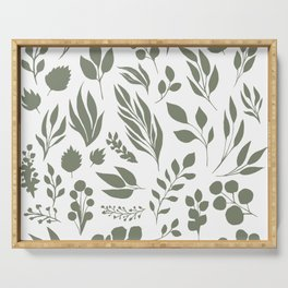 Elegant floral pattern, light green leaf inked silhouettes set, vector isolated illustration Serving Tray