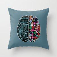 brain Throw Pillows featuring Brain by BlueLela