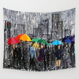 Rainy Day Reflecting Wall Tapestry
