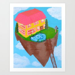 Large floating island house Art Print