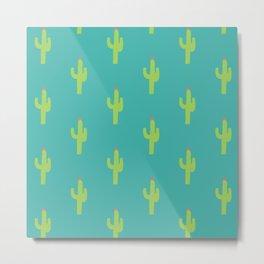 Valentine Homegrown Love Cactus Pattern Metal Print