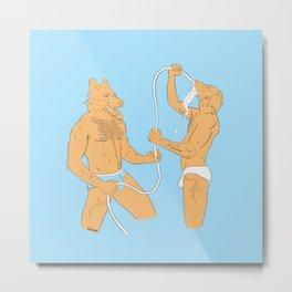 Dogmen fight with water in underwear Metal Print