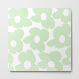 Large Baby Green Retro Flowers White Background #decor #society6 #buyart Metal Print