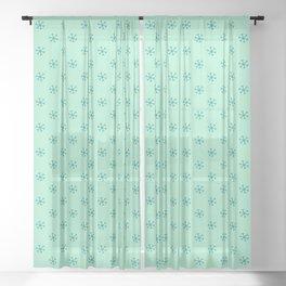Teal Green on Magic Mint Green Snowflakes Sheer Curtain