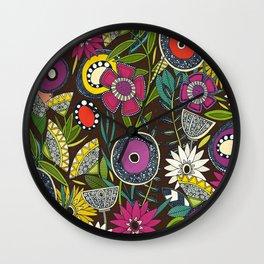 joie floral espresso Wall Clock
