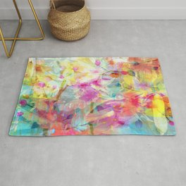 Colorful Painterly Spring Floral Abstract Rug