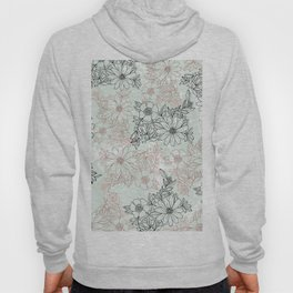 Mint black faux rose gold floral marble Hoody