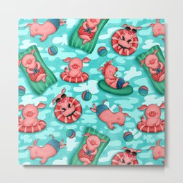 Summer Lovin' Pigs Metal Print