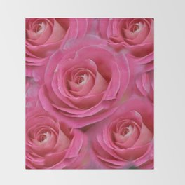 THE PINK GARDEN ROSES VIGNETTE ABSTRACT Throw Blanket
