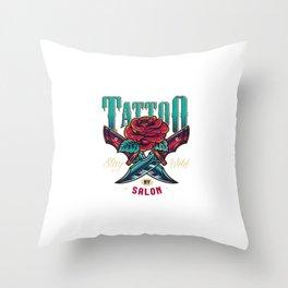 Vintage Tattoo Studio Colorful Logo Throw Pillow