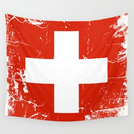 Switzerland flag with grunge effect Wall Tapestry