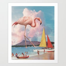 Flamingo Playground Art Print