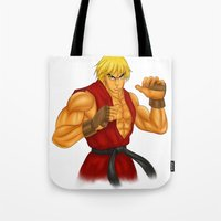 street fighter Tote Bags featuring Ken Street Fighter by jasonarts