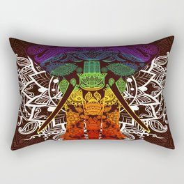 Indian Elephant Mandala Purple Blue Green Yellow Orange Rectangular Pillow