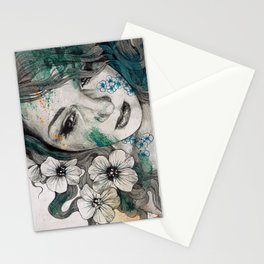 Cleopatra's Sling (flower tattoo lady portrait drawing) Stationery Cards