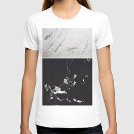 White Glitter Marble & Black Marble #1 #decor #art #society6 T-shirt