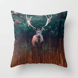 The Deer and the Lights Throw Pillow