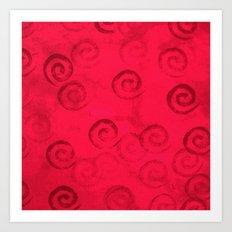 Festive Red Spirals Art Print