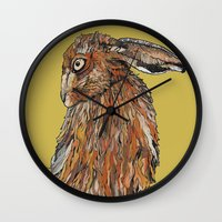 hare Wall Clocks featuring Hare by Louisa Heseltine