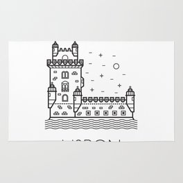 Belém Tower Lisbon Portugal Black and White Rug
