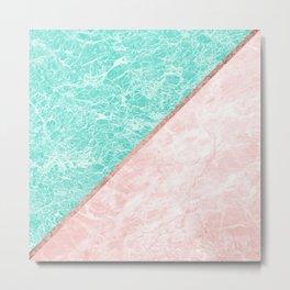 Turquoise teal pink rose gold geometrical marble Metal Print