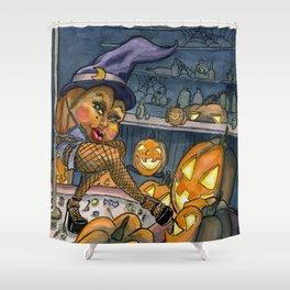 Pumpkin Stripper Shower Curtain