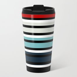 Pattern stripes . Blue , red , white , gray , black . Metal Travel Mug