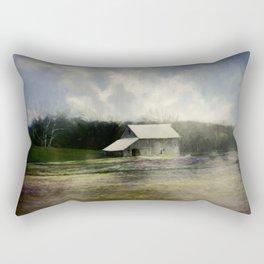 Barn in the mist Rectangular Pillow