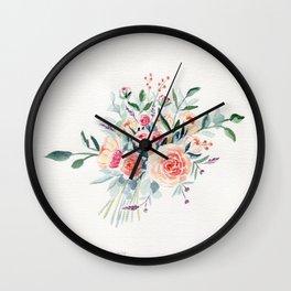 Flowers Bouquet Watercolor Wall Clock