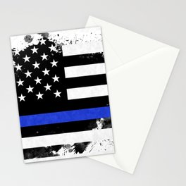 Distressed Thin Blue Line American Flag Stationery Cards