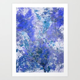 Cornflower Blue Abstract Painting Art Print