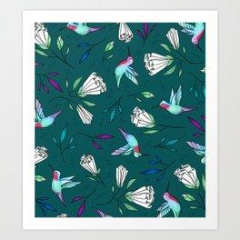 Hummingbird Garden Art Print
