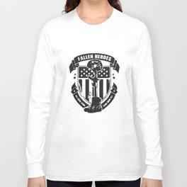 Fallen Heroes Soldier Cross Army Military Patriotic American Veteran T-Shirts Long Sleeve T-shirt