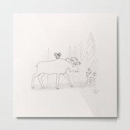 Moose and Squirrel Metal Print