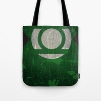 green lantern Tote Bags featuring Green Lantern by Fries Frame