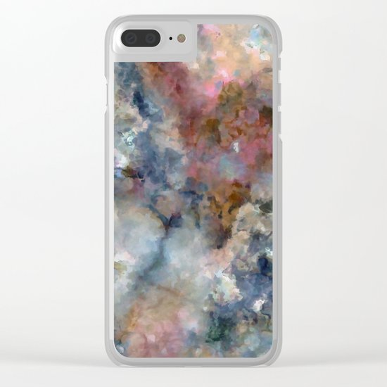 Colorful watercolor nebula onyx Clear iPhone Case