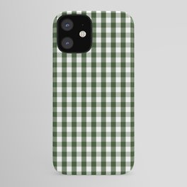 Dark Forest Green and White Gingham Check iPhone Case