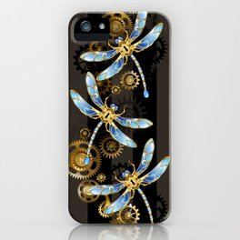 Steampunk Design with Mechanical Dragonflies iPhone Case