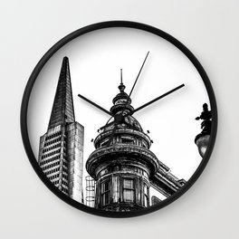 pyramid building and vintage style building at San Francisco, USA in black and white Wall Clock